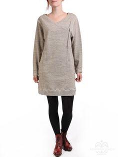 Cozy stoere jurk.  Selected Femme sweat tuniekjurk met overslag Debu mid grey melange