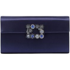 Roger Vivier Women Swarovski Satin Clutch W/ Floral Buckle ($2,190) ❤ liked on Polyvore featuring bags, handbags, clutches, navy, floral print purse, blue clutches, navy blue handbags, buckle handbags and floral purse