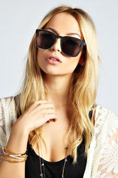 Lauren Metallic Trim Square Sunglasses at boohoo.com