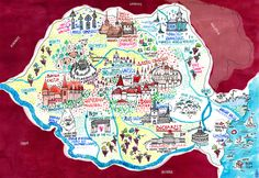 Illustrated map of touristic Romania for a travel agency, by Madalina Andronic. Romania Map, Visit Romania, Romania Travel, Travel Maps, Travel Posters, Visual Map, Thinking Day, City Maps, Moldova