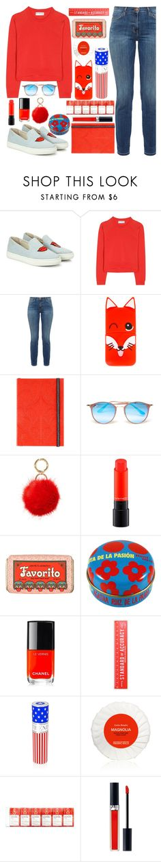 """LRRH."" by valemx ❤ liked on Polyvore featuring Soludos, Balenciaga, Current/Elliott, Maison Kitsuné, Christian Lacroix, Ray-Ban, Iphoria, MAC Cosmetics, Claus Porto and Chanel"