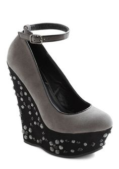 Misty Meets Fabulous Wedge  By ModCloth.  Platform measures 2.25 inches. Wedge measures 6 inches.   Elasticized adjustable ankle strap with buckle closure.  $52.99