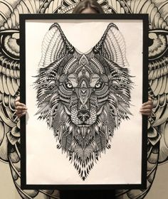 Instinct | Freedom | Expression Aurora holds an appetite for freedom and the overwhelming need to live a life of adventure. She encourages you to exercise true self expression and acts as a reminder to keep your spirit alive by allowing yourself to be guided by your instincts.  Available as a supersize A1 print. Limited edition!   #wolf #zentangle #fayehalliday #fayehallidayart #tattoo #wolftattoo #tattooidea #tattoodesign #art #artist #creative #doodle