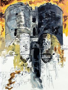 'Harlech Castle' by John Piper, 1989 (screenprint) (cityscape art john piper) Urban Landscape, Landscape Art, John Piper Artist, Building Art, A Level Art, Gcse Art, Built Environment, Art Sketchbook, Art And Architecture