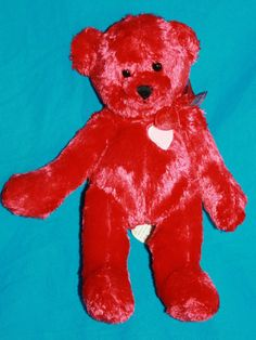 "Hallmark Red Bear Only Sweet Hugs white Heart plush stuffed animal 9"" Valentines"