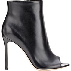 Gianvito Rossi Women's Leather Lais Booties ($419) ❤ liked on Polyvore featuring shoes, boots, ankle booties, colorless, black high heel boots, black booties, black ankle booties, clear booties and high heel boots
