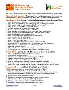 37 Coaching Questions to Liberate Your Clients! Coaching Tools from The Coaching Tools Company com is part of Coaching questions - Got a client who's stuck or not seeing options and choices Liberate them with these powerful coaching questions Therapy Worksheets, Therapy Activities, Work Activities, Counseling Activities, School Counseling, Anger Management Activities, Solution Focused Therapy, Coaching Questions, Therapy Questions
