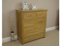Milan Solid Oak 2 Over 3 Chest Of Drawers #chestofdrawers