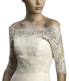Romantic Lace Half Sleeves Bridal Wedding Shawl (2, Ivory)