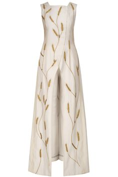 SAMANT CHAUHAN Ivory embroidered front open overlap gown with palazzos available only at Pernia's Pop Up Shop. #samantchauhan #perniaqureshi #perniaspopupshop #happyshopping #shopnow #ivory #embroideredgown #contemporary #western #indiandesigner