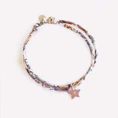 Bracelet en Liberty finement cousu et étoile gravée en argent. Handmade in France . www.ticha.bigcartel.com
