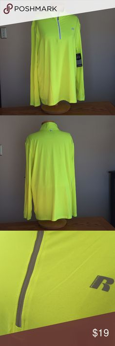 """🆕 Russell Athletic Bright Yellow shirt. Size XL 🆕 Men's Russell Athletic Bright Yellow shirt. Size XL (46-48) DriPower360 poly/spandex 31"""" long. Russell Athletic Shirts"""