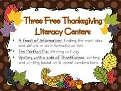 Three FREE Thanksgiving themed literacy centers