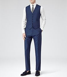 Lungano Blue Three Piece Wool Suit - REISS