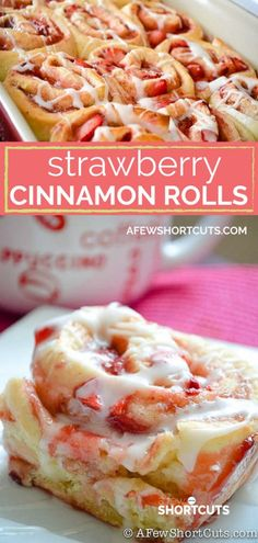 Strawberry Cinnamon Rolls Recipe A twist on a classic favorite! This delicious Strawberry Cinnamon Rolls Recipe is a keeper!<br> A twist on a classic favorite! This delicious Strawberry Cinnamon Rolls Recipe is a keeper! Cinnamon Bun Recipe, Cinnamon Recipes, Homemade Cinnamon Rolls, Homemade Vanilla, Cinnamon Roll Cakes, Healthy Cinnamon Rolls, Cinnabon Cinnamon Rolls, Cinnamon Roll Muffins, Cinnamon Roll Cheesecake