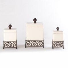 Pressed Metal Ceramic Jar, Set of 3 at Kirkland's Decor, Kirklands, Pressed Metal, Kirkland Home Decor, Ceramic Jars, Ceramic Canister Set, Ceramic Canisters, Kitchen Canisters, Dining Room Decor