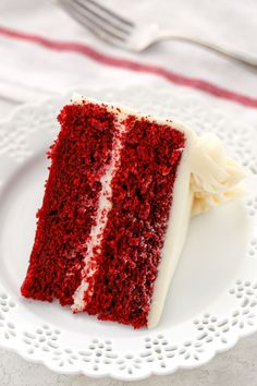 A single slice of red velvet cake on a decorative white plate with a white napkin and fork in the background. Homemade Red Velvet Cake, Best Red Velvet Cake, Cupcakes, Cupcake Cakes, Sweets Cake, Easy Cake Recipes, Dessert Recipes, Yummy Recipes, Cooking Recipes