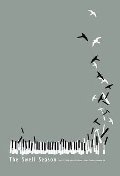 Nature Music- Piano keys falling into shape or the same idea with music paper and notes