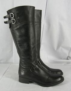 Aldo Womens 38 M Tall Riding Boots Buckle Detail Black Leather Excellent 7.5 8
