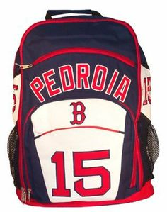 Boston Red Sox Dustin Pedroia MLB Player Traditional Backpack by Forever Collectibles. $59.99. This MLB player backpack from Forever Collectibles is large enough to be practical, but light enough to carry comfortably. Made of durable polyester fiber,  this high-strength traditional backpack features plenty of pockets including dedicated pockets for your laptop, mp3 player, and cell phone. Includes side mesh exterior pockets for bottles, embroidered team logo, team colors,...