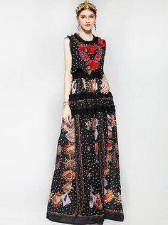 c2ac8c674b6 New 2017 Runway Maxi Dress Women Floor Length Sleeveless Elegant Rose Flower  Print Floral Embroidery Vintage Long Dress