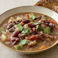 Hearty (and healthy) bean and vegetable chili.