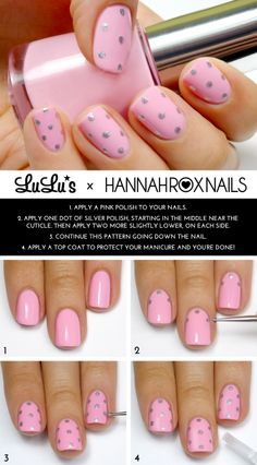 Mani Monday: Pink and Silver Polka Dot Mani Tutorial at LuLus.com!