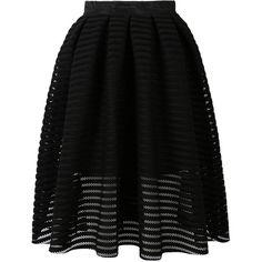 Choies Black Sheer Stripe Skater Midi Skirt ($41) ❤ liked on Polyvore featuring skirts, bottoms, black, saias, knee length skater skirt, mid calf skirts, midi skater skirt, stripe skirt and striped skater skirt