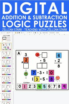Distance Learning: These 12 activities challenge students to combine logical problem solving skills with their knowledge of addition and subtraction facts. This update is designed to work with Google™ Slides, Google™ Drive, Microsoft OneDrive, and Seesaw. Addition Math Journal Prompts, Math Journals, Math Fact Fluency, Fluency Games, Elementary Math, Kindergarten Math, Teaching Addition, Special Education Classroom, Math Education