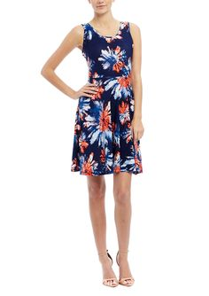 MLLE GABRIELLE Sleeveless Floral Print Fit and Flare Dress | ideel