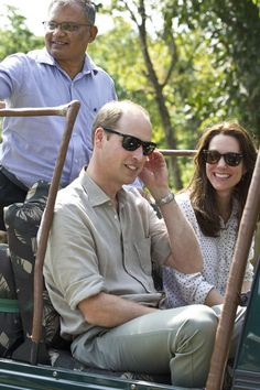 Catherine, Duchess of Cambridge and Prince William, Duke of Cambridge pose with rangers on a Game drive at Kaziranga National Park at Kaziranga National Park on April 13, 2016 in Guwahati, India.
