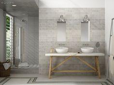 salle-bains-moderne-vasques-blanches-rondes-table-bois-comptoir-blanc-carrelage-mural-gris-clair photos de salle de bains