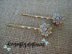 Hair Pins, Rhinestones, Gold Tone, Wedding, Bridesmaids {102}
