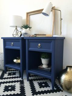 Before and After Furniture Makeovers. Vintage Nightstands Get A Makeover With Paint And Metallic Cream