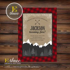 Hey, I found this really awesome Etsy listing at https://www.etsy.com/listing/253755207/lumberjack-birthday-party-invitation