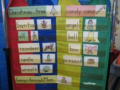 #Christmas Word Wall done with Guided Drawing