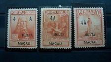 "Macau Stamp, 1925 Portuguese Postage Stamps Overprinted ""MULTA"" & ""MACAU"" TAX"
