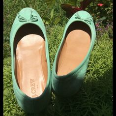 J. Crew mint flats Cute ballet flats, suede outer. Great condition J. Crew Shoes Flats & Loafers