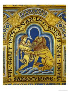 Samson and the Lion Altar, Life Of Christ, Old And New Testament, Epoch, Lion, Mosaic, Scene, Christian, Painting