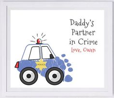 Police Car made from your child's prints!, Forever Prints. Mom, Dad, Grandma., Nursery Wall Art, New baby. Choose colors. T108