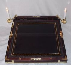 SUPERB QUALITY EARLY 19TH CENTURY CIRCA 1820 (REF. WWW.HYGRA) LARGE MILITARY/CAMPAIGN STYLE WRITING SLOPE BOX