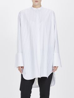 multi stripe longerline shirt