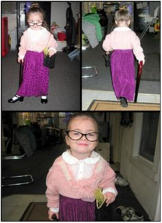 Diy Halloween costume idea for toddler child. My little girl dressed as old lady cane, pill box, glasses. So much fun & save money on costume. My Little Girl, Little Girl Dresses, Girls Dresses, Crazy Hat Day, Crazy Hats, Zombie Makeup Easy, Vocabulary Parade, Old Lady Costume, Homecoming Spirit Week
