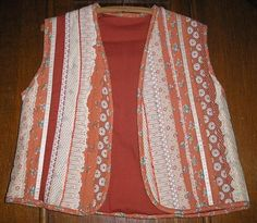 Rust Floral Fabric and White Lace String Quilted size small Vest by crafts4thecure, ♥etsy♥$15.00, vintage from 1980's