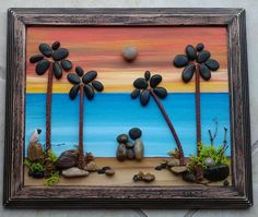FREE SHIPPING This will be made to order on a hand painted background - if you prefer a 9x9x2 glass enclosed wood grained shadowbox (several colors to choose from), please me when placing your order. Family of three sitting on the beach watching the sunset (any number of people and/or