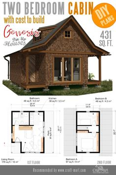 Awesome Small Home Plans for Low DIY Budget - Genesis has a definitive whimsical look for attracting some attention. The gabled roof creates a charming image of a fairy-tale house. The plan is logical and has almost no wasted space. Tiny House Cabin, Tiny House Living, Small House Plans, House Floor Plans, Tiny Cabin Plans, The Plan, How To Plan, Earthship Home, Casas Containers