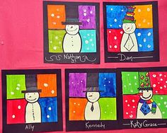 Snowman art: black marker to make snowman and then draw grid, paint in squares and then white dabs with finger, adorable!