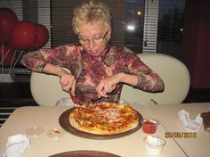 "Elzbieta eating pizza.....but she likes also other things, so sometimes have ""side benefits"""