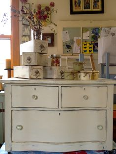 My OTHER latest find and other new bedside table Annie Sloan Old White, Small Dresser, Bedside, Vintage Furniture, Upcycle, Curvy, Decorating, Antiques, Table