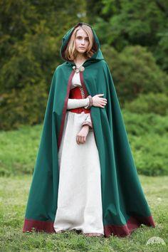 """Green Cotton Cloak """"Secret Garden"""""""
